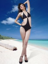 Glamour Black Triangle One-Piece Halter Womens Swimsuit