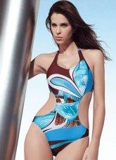 Fabulous Colorful 82% Nylon 18% Spandex Halter One-Piece Ladies Swimsuit