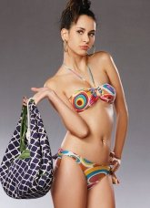 Attractive Colorful Halter Two-Piece 82% Nylon 18% Spandex Bikini Swimsuit