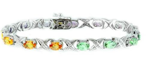 9.1ct Multi Color Sapphire & Diamond Bracelet