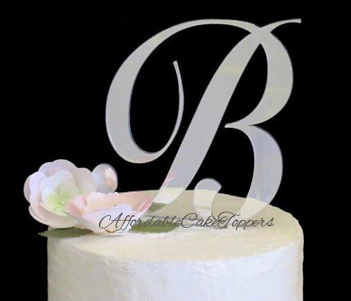 Silver Monogram Cake Topper Letters A-Z
