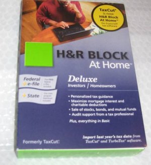 H&R block at home Deluxe Investors tax 2009 sealed Box