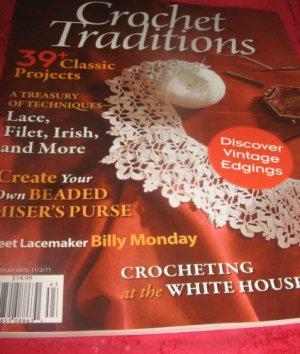 Crochet TRADITIONS magazine VINTAGE edging lace filet Irish BEADED Misers Purse