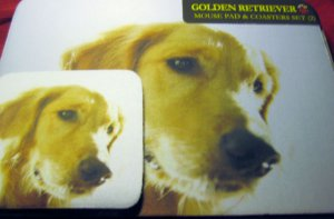 Golden RETRIEVER  Dog Mousepad & 2 coaster set Littlegifts pet mouse pad