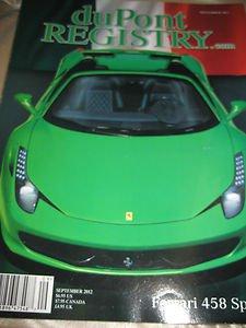 duPont Registry Magazine Ferrari 458 Spider September 2012 porsche Italia
