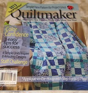 Quiltmaker Magazine # 149 january 2013 applique in hoop Color confidence