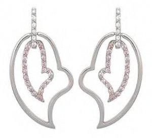 Double Heart Pink CZ Earrings