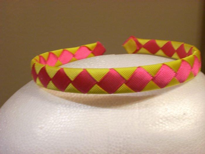 Woven Headband--Pink & Yellow