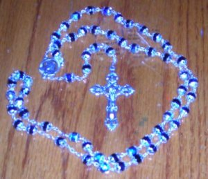 Fire Polished Rosary Silver/Nickel Center & Crucifix
