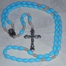 Handcrafted Rosaries -- Blue Plastic Beads