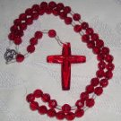 Handcrafted Rosaries -- Red Plastic Beads