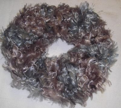 Fun Fur Handmade Crocheted Scrunchies Taupe/Aqua