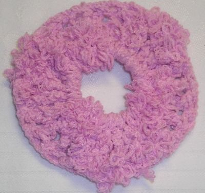 Fun Fur Handmade Crocheted Scrunchies Corded Pink
