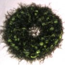 Fun Fur Handmade Crocheted Scrunchies Green/Ribbon