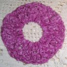 Fun Fur Handmade Crocheted Scrunchies Fushia/Ribbon