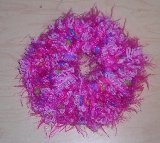 Fun Fur Handmade Crocheted Scrunchies Corded Pink Fur