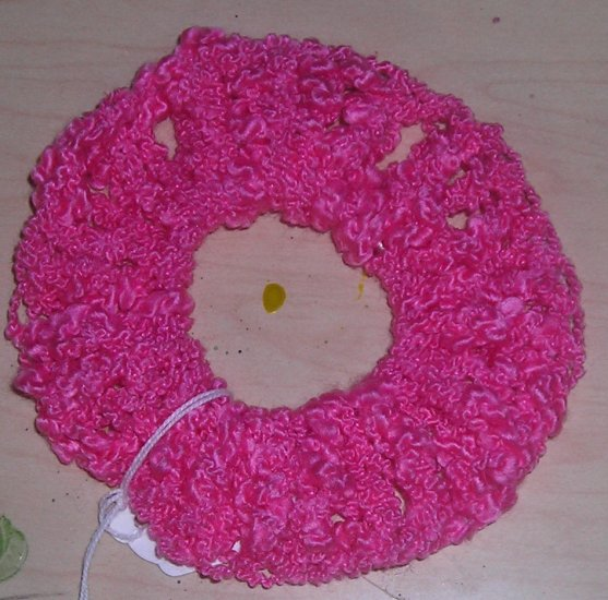 Fun Fur Handmade Crocheted Scrunchie Delicate Pink