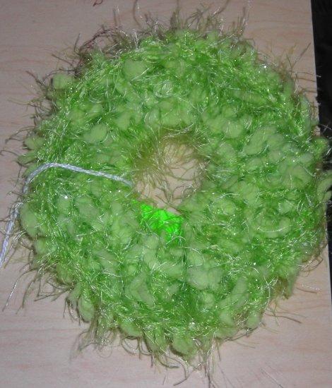 Handmade Crocheted Hair Scrunchie Light Green Nobby