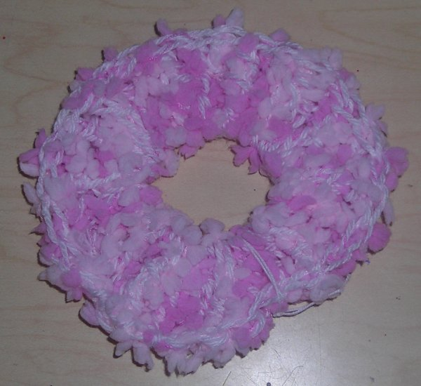 Handmade Crocheted Scrunchies Two Toned Pink Nobby