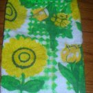 Yellow Flowers Hanging Kitchen Towel Green Top