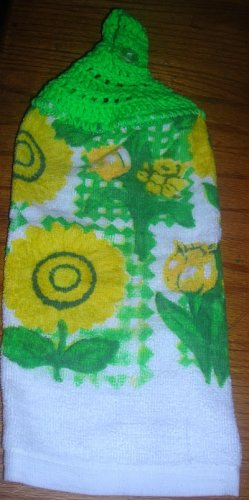 Yellow Flowers Hanging Kitchen Towel Green Top