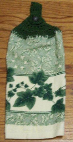 Green Leaves Kitchen Towel with Crocheted Green Top