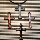 Enameled Cross Necklace- BLACK