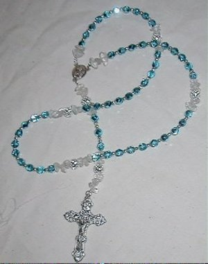 Rosary of Aqua Crystal Beads with Holy Father, John Paul center piece