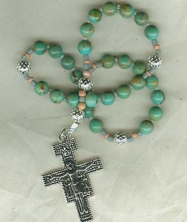 Anglican Rosary of Real Turquoise & Silver Filagree