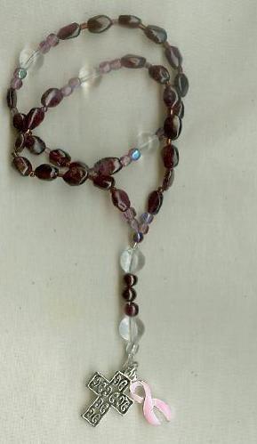 Pink Ribbon Prayer Beads, made of real Garnets