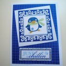 Hollaa holiday card: Just Chillin penguin handmade ann