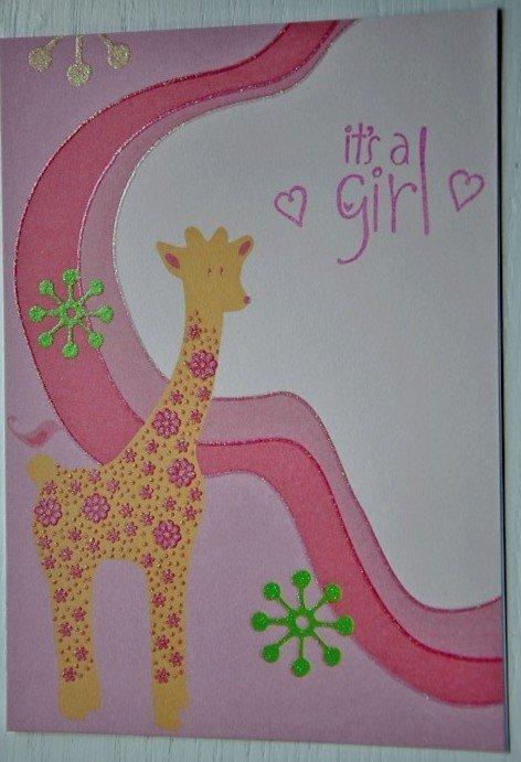 Hollaa baby girl card: pink Giraffe handmade ann