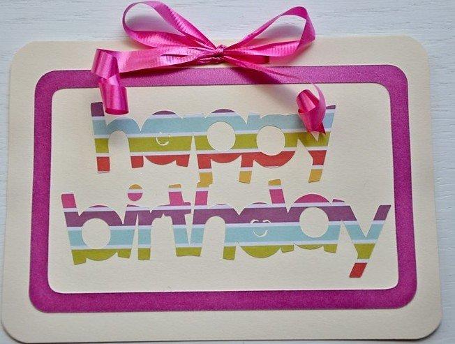 Hollaa Birthday card: pink present handmade ann