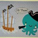Hollaa greeting card: Pirate Octopus & ship: HI ann