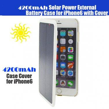 New 4200mah Solar Power External Backup Battery Charger Case Apple iPhone 6 Plus - Black / White