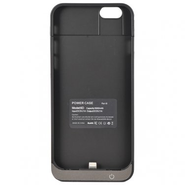 """5000mAh Portable Power Pack External Backup Charger Battery Case for 4.7"""" iPhone 6 - Black"""