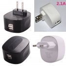 Dual-Port USB 2.1A Output AC Charger Power Adapter for iPhone / iPod / Samsung / HTC (AC 100-240V)