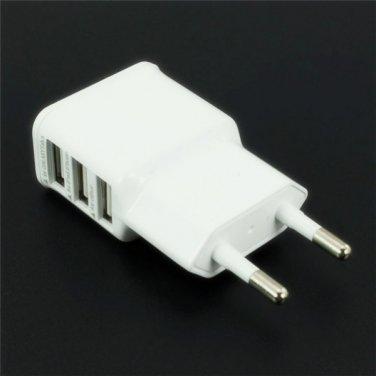 Universal EU Plug 3-Port USB Charger White