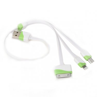 3 in 1 30cm Noodle Flat Micro USB Data Cable Charger iPhone 5s 5 6 Samsung - White + Green