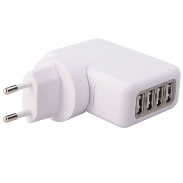 4-Port USB Wall Charger AC Adapter Power Supply EU Plug - White