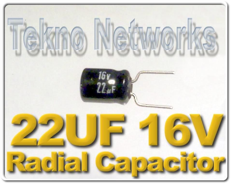 22uF 25V Radial Electrolytic Capacitors - 100pcs