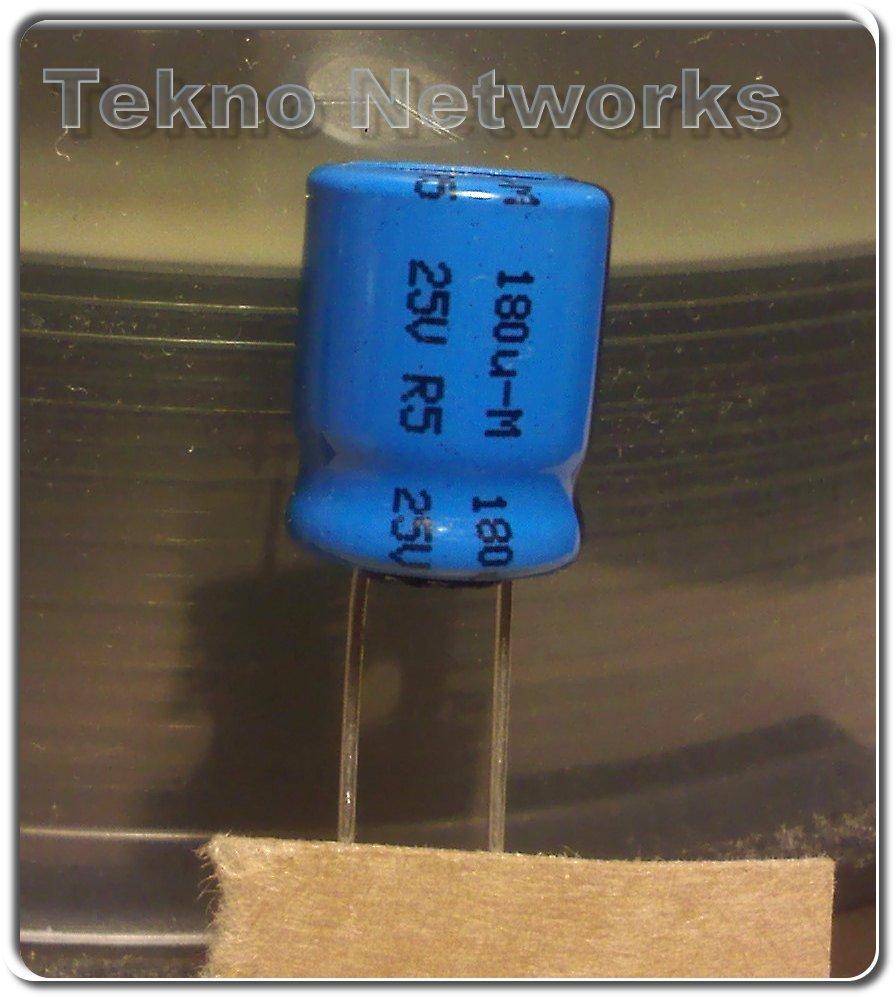 Vishay RVI - 180uF 25V 10x12 20% 105° 10X12 mm 20pcs