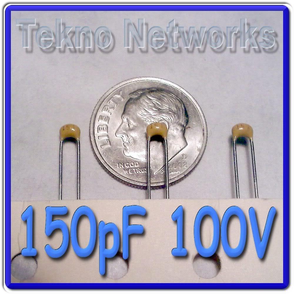 150pF 100V 20% Ceramic Capacitors - 100pcs