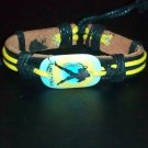 Genuine Leather Bracelet w/ Hemp Laces and Acrylic Pendant Zodiac Signs- Aquarius