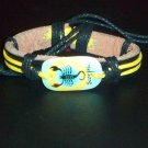 Genuine Leather Bracelet w/ Hemp Laces and Acrylic Pendant Zodiac Signs- Scorpio