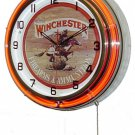 "Winchester Firearms & Ammunition 18"" Double Orange Neon Wall Clock"