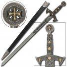 Knights Templar Medieval Replica Silver Longsword