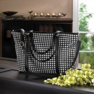 Breezy Couture Checkered Tote Bag- Black