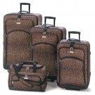 Leopard Print Polyester 4-Piece Luggage Ensemble