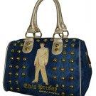 Elvis Presley Gold Lame Studded Denim/ Synthetic Leather Satchel Bag